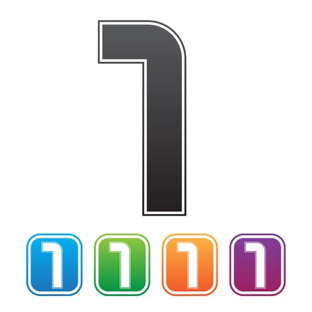 arabic numeral: vector number one and Blue, green, purple, orange Illustration