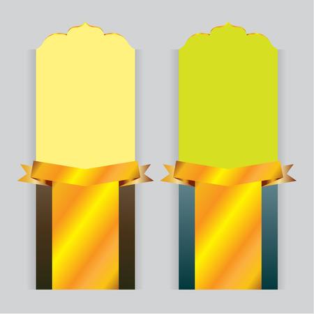 yellow green: vector background card design Yellow Green gold ribbon