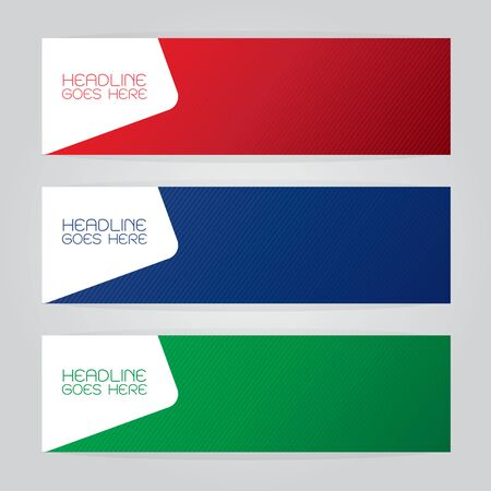 vector banners or headers: vector set of three banners abstract headers with colorful red green blue Illustration