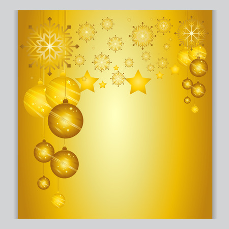 cold weather: Christmas Background gold Ball The cold weather season Vector Illustration