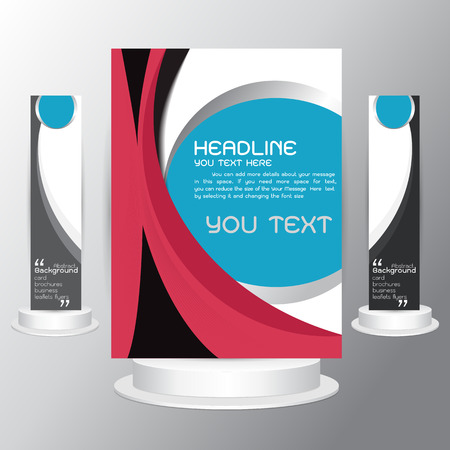 pink and black: background tri fold business brochure  cards template design with blue pink black Cover layout  Illustration