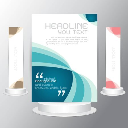 vector vector tri fold business brochure blue template flyers business cards background on gray background - Tri Fold Business Cards