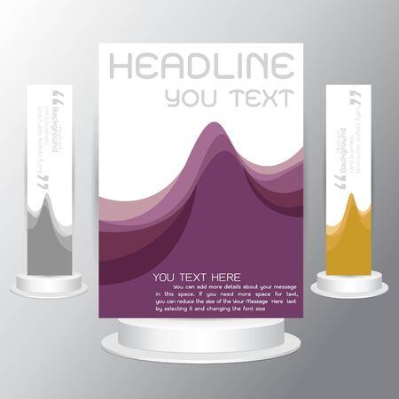 elegant white: Modern Brochure purple wave Identity Package Vector Illustration Eps10 template. infographic in A4 size template flyers business cards on gray background Illustration