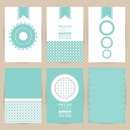 distributing: vector blue set of Vintage pattern background banner retro brochures templates cards six frames design on gray backgrounds