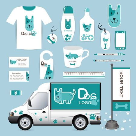 hospital cartoon: vector identity Corporate design animal, logo, geometric, background Dog Animal Hospital medical device labels, business cards Animal Hospital eraser smart phones, T-shirts, pens, pencils, rulers black, blue, white, shampoo, medicines, emergency