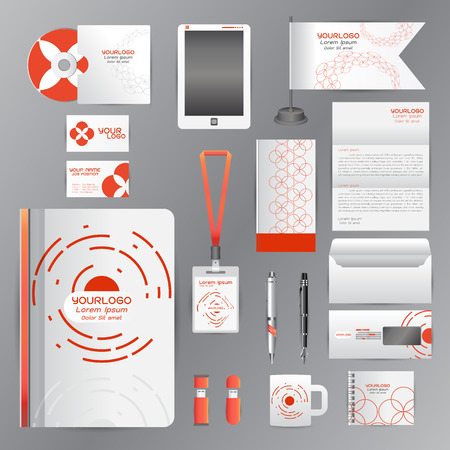 letterhead: White corporate identity template with Orange origami elements. Vector company style for brandbook guideline and Pens mugs CDs books business cards letterhead flag Card Portfolio employees Tablet flash drive Illustration