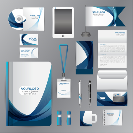 White identity template with blue origami elements. Vector company style for brandbook guideline and Pens mugs CDs books business cards letterhead flag Card Portfolio employees Tablet flash drive