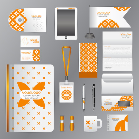 White corporate identity template with Orange origami elements. Vector company style for brandbook guideline and Pens mugs CDs books business cards letterhead flag Card Portfolio employees Tablet flash drive Illustration