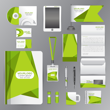 letterhead design: White identity template with green origami elements. Vector company style for brandbook guideline and Pens mugs CDs books business cards letterhead flag Card