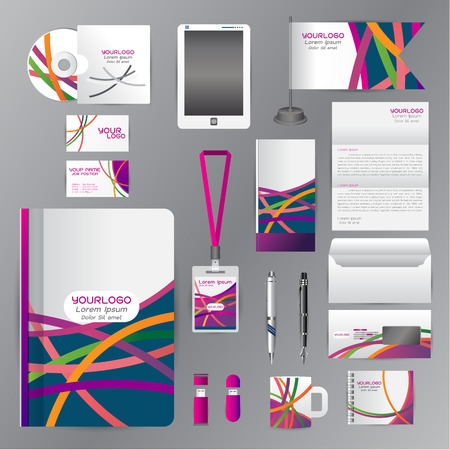 cds: White identity template with Orange green purple origami Vector company style for guideline and Pens mugs CDs books business cards letterhead flag Card Illustration