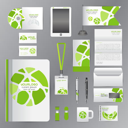 green card: White identity template with green Circle origami elementsVector company style for brandbook guideline and Pens mugs CDs books business cards letterhead flag Card
