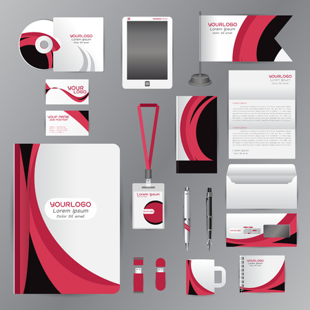 cds: White identity template with pink origami elementsVector company style for brandbook guideline and Pens mugs CDs books business cards letterhead flag Card