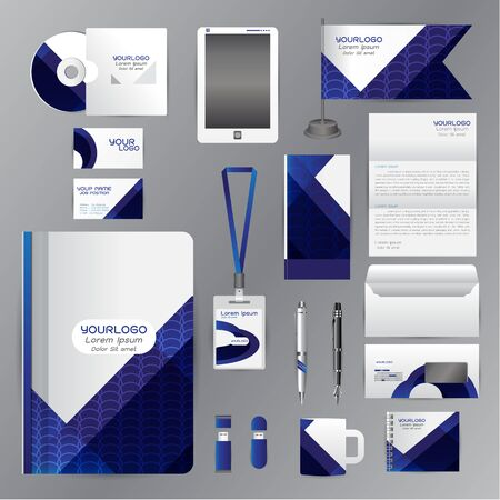 White identity template with blue origami elements. Vector company style for brandbook guideline and Pens mugs CDs books business cards letterhead flag Card