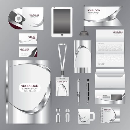 guideline: White identity template with gray Wave origami elementsVector company style for brandbook guideline and Pens mugs CDs books business cards letterhead flag Card Illustration