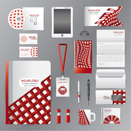 cds: White identity template with red square origami elementsVector company style for brandbook guideline and Pens mugs CDs books business cards letterhead flag Card Illustration