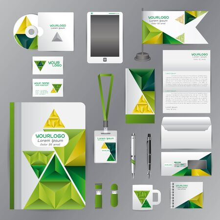guideline: White identity template with green triangle origami elementsVector company style for brandbook guideline and Pens mugs CDs books business cards letterhead flag Card Illustration