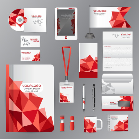 White identity template with red origami elements. Vector company style for brandbook guideline and Pens mugs CDs books business cards letterhead flag Card Portfolio employees Tablet Illustration
