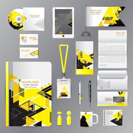 White identity template with Yellow origami elements. Vector company style for brandbook guideline and Pens mugs CDs books business cards letterhead flag Card Portfolio employees Tablet Illustration