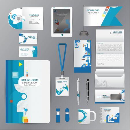 membrete: Modelo de la identidad blanca con elementos de origami azul. estilo vector de la compa��a para la directriz Brandbook y Plumas Tarjeta bandera tarjetas de las tazas CDs libros de negocios con membrete de la cartera empleados de la tableta
