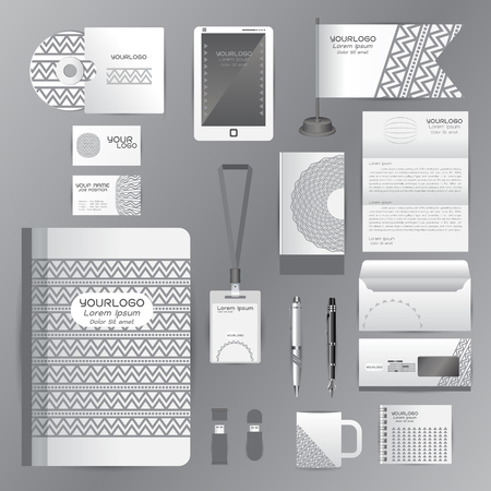 cds: White identity template with gray origami elements. Vector company style for brandbook guideline and Pens mugs CDs books business cards letterhead flag Card Portfolio employees Tablet