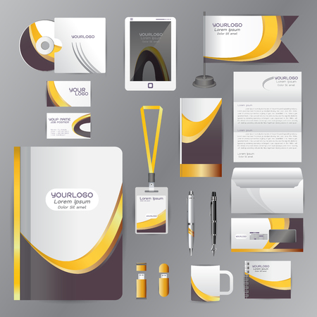amarillo y negro: White identity template with Yellow Black origami elements. Vector company style for brandbook guideline and Pens mugs CDs books business cards letterhead flag Card Portfolio employees Tablet