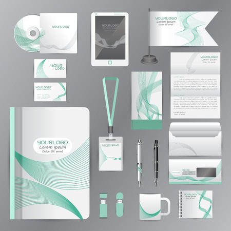 guideline: White identity template with green origami elements. Vector company style for brandbook guideline and Pens mugs CDs books business cards letterhead flag Card Portfolio employees Tablet Illustration