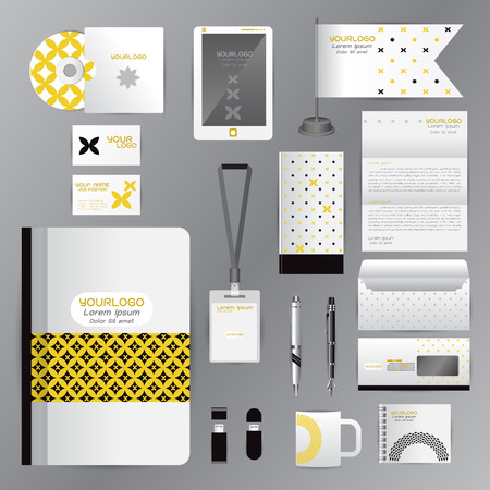 cds: White identity template with Yellow Black origami elements. Vector company style for brandbook guideline and Pens mugs CDs books business cards letterhead flag Card Portfolio employees Tablet
