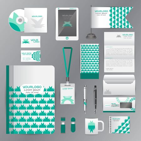 White identity template with green origami elements. Vector company style for brandbook guideline and Pens mugs CDs books business cards letterhead flag Card Portfolio employees Tablet Illustration