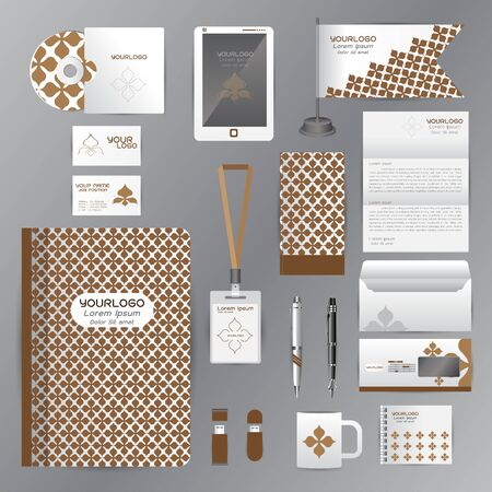 cds: White identity template with brown origami elements. Vector company style for brandbook guideline and Pens mugs CDs books business cards letterhead flag Card Portfolio employees Tablet