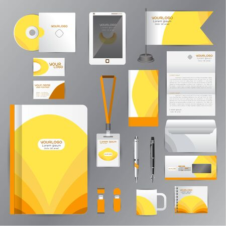 cds: White identity template with Yellow origami elements. Vector company style for brandbook guideline and Pens mugs CDs books business cards letterhead flag Card Portfolio employees Tablet Illustration