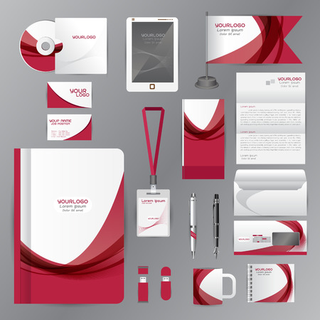 cds: White identity template with red origami elements. Vector company style for brandbook guideline and Pens mugs CDs books business cards letterhead flag Card Portfolio employees Tablet Illustration