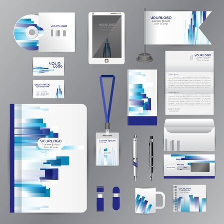 cds: White identity template with blue origami elements. Vector company style for brandbook guideline and Pens mugs CDs books business cards letterhead flag Card Portfolio employees Tablet
