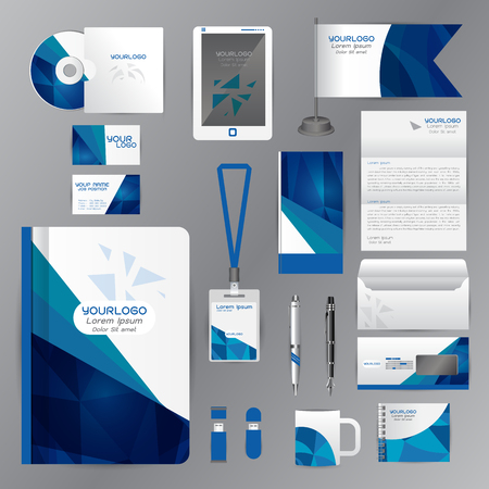 blue card: White identity template with blue origami elements. Vector company style for brandbook guideline and Pens mugs CDs books business cards letterhead flag Card Portfolio employees Tablet