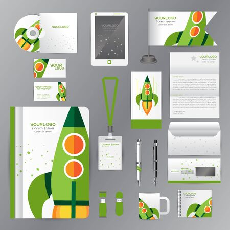 cds: White identity template with green origami elements. Vector company style for Rocket Success Teamwork Pens mugs CDs books business cards letterhead flag Card Portfolio employees Tablet Illustration