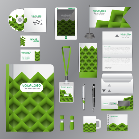cds: White identity template with green origami elements. Vector company style for brandbook guideline and Pens mugs CDs books business cards letterhead flag Card Portfolio employees Tablet Illustration