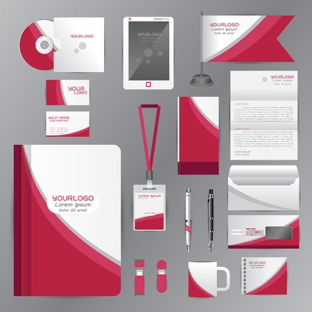 employees: White identity template with pink origami elements. Vector company style for brandbook guideline and Pens mugs CDs books business cards letterhead flag Card Portfolio employees Tablet Illustration