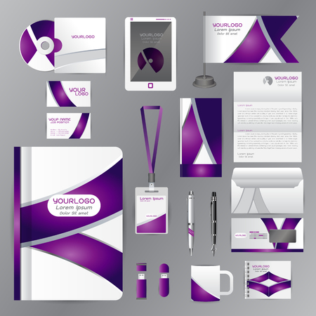 cds: White identity template with purple origami elements. Vector company style for brandbook guideline and Pens mugs CDs books business cards letterhead flag Card Portfolio employees Tablet Illustration