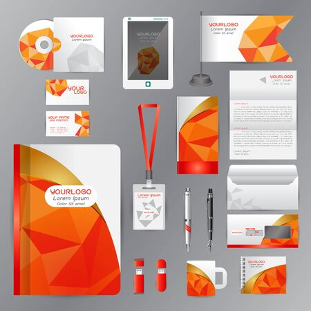 cds: White identity template with Orange origami elements. company style for brandbook guideline and Pens mugs CDs books business cards letterhead flag Card Portfolio employees Tablet Illustration