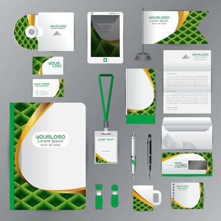 White identity template with green origami elements. company style for brandbook guideline and Pens mugs CDs books business cards letterhead flag Card Portfolio employees Tablet
