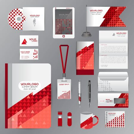 cds: White identity template with red origami elements. company style for brandbook guideline and Pens mugs CDs books business cards letterhead flag Card Portfolio employees Tablet Illustration