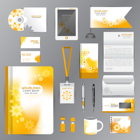 stationary: White identity template with Yellow Flower origami elements. company style for brandbook guideline and Pens mugs CDs books business cards letterhead flag Card Portfolio employees Tablet