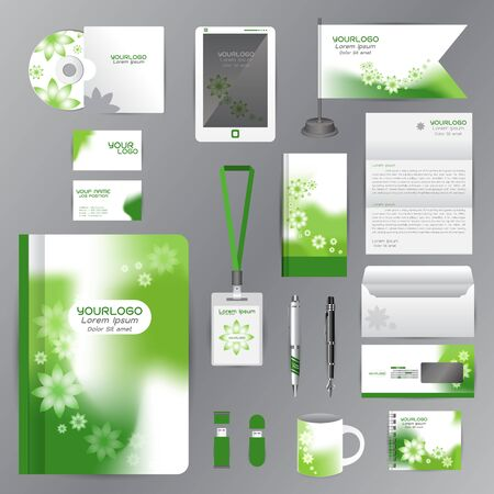 cds: White identity template with green Flower origami elements. company style for brandbook guideline and Pens mugs CDs books business cards letterhead flag Card Portfolio employees Tablet Illustration
