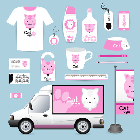 a lovely cat: identity Corporate design animal, cat Animal Hospital medical device labels, business cards Animal Hospital eraser smart phones, T-shirts, pens pencils rulers shampoo, medicines, emergency