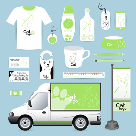 cat footprint: identity Corporate design animal, cat Animal Hospital medical device labels, business cards Animal Hospital eraser smart phones, T-shirts, pens pencils rulers shampoo, medicines, emergency
