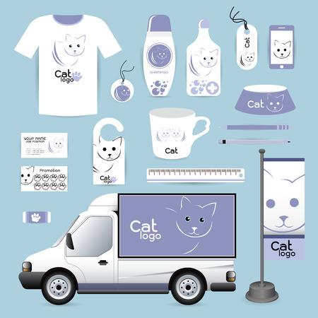 kitty cat: identity Corporate design animal, cat Animal Hospital medical device labels, business cards Animal Hospital eraser smart phones, T-shirts, pens pencils rulers shampoo, medicines, emergency