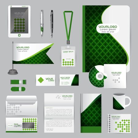 cds: White identity template with green origami elements. company style for brandbook guideline and Pens mugs CDs books business cards letterhead flag Card Portfolio employees Tablet