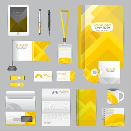 cds: White identity template with Yellow origami elements. company style for brandbook guideline and Pens mugs CDs books business cards letterhead flag Card Portfolio employees Tablet