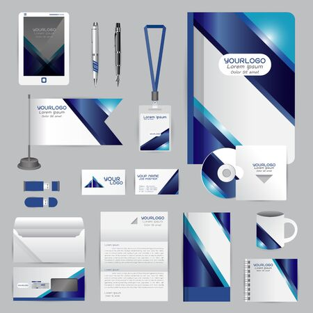 cds: White identity template with blue origami elements.  company style for brandbook guideline and Pens mugs CDs books business cards letterhead flag Card Portfolio employees Tablet Illustration