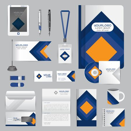 White identity template with blue origami elements. company style for brandbook guideline and Pens mugs CDs books business cards letterhead flag Card Portfolio employees Tablet
