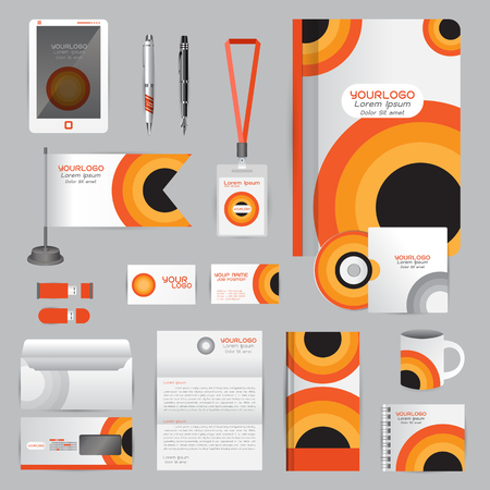 White identity template with Orange origami elements. company style for brandbook guideline and Pens mugs CDs books business cards letterhead flag Card Portfolio employees Tablet Illustration